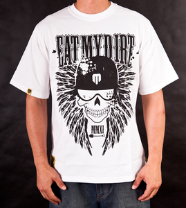 T-Shirt EAT MY DIRT Skullwings (biały)