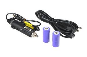 2x akumulator CR123 600mAh, ładowarka impulsowa z zasilaczem sieciowym + 12V
