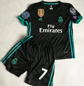 Dziecięcy zestaw piłkarski REAL MADRYT away 17/18 ADIDAS (koszulka+spodenki) #7 RONALDO