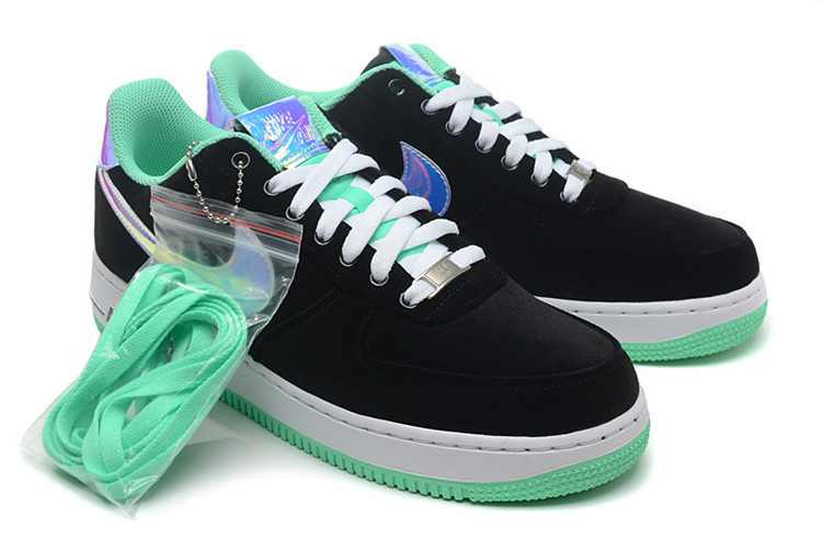 buty nike air force 1 low czarne/mietowe hologram