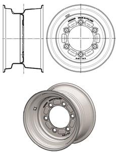 Koło tarczowe 9x18 8otw fi-221 ET=0 przyczepa PRONAR