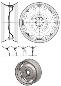 Koło tarczowe kpl W15x30 8-otw fi-152.4 PRONAR