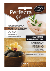 DAX Perfecta SPA Szafirowy peeling + Regenerująca maska-serum do rąk - domowy zabieg kosmetyczny,2x6 ml