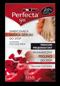 DAX Perfecta SPA Wulkaniczny peeling + Zmiękczająca maska-serum do stóp - domowy zabieg kosmetyczny, 2x6 ml