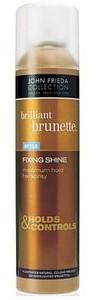 JOHN FRIEDA Brilliant Brunette, Fixing Shine, Silnie utrwalający i nadający połysk lakier do włosów dla brunetek 250 ml