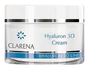 CLARENA, Hyaluron 3D Cream, Ultra-nawilżający krem z 3 rodzajami kwasu hialuronowego, 50 ml