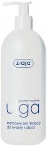 ZIAJA Ulga, Bezzapachowy kremowy żel myjący do twarzy i ciała dla skóry wrażliwej, 400 ml