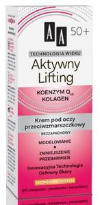 AA Technologia Wieku 50+, Aktywny Lifting Bezzapachowy krem przeciwzmarszczkowy pod oczy, 15 ml