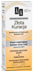AA Technologia Wieku 60+, Złota Kuracja Bezzapachowy krem napinający kontur oczu i ust, 15 ml