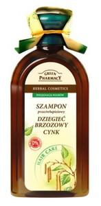 GREEN PHARMACY, Szampon przeciwłupieżowy z cynkiem i dziegciem brzozowym, 350 ml
