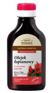 GREEN PHARMACY, Olejek łopianowy z czerwoną papryką stymulujący wzrost włosów, 100 ml