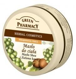 GREEN PHARMACY, Nawilżające masło do ciała Masło Shea i Zielona kawa, 200 ml