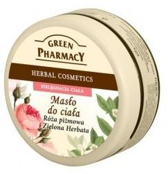 GREEN PHARMACY, Łagodzące masło do ciała Róża piżmowa i Zielona herbata, 200 ml