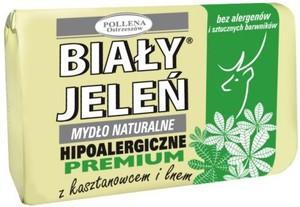 BIAŁY JELEŃ Premium, Naturalne mydło w kostce z kasztanowcem i lnem, 100 g