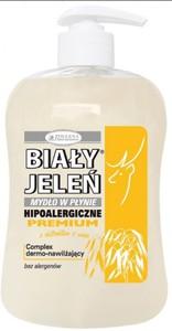 BIAŁY JELEŃ Premium, Naturalne mydło w płynie z owsem i lnem, 300 ml