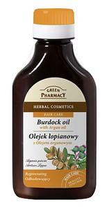 GREEN PHARMACY, Odbudowujący olejek łopianowy z olejem arganowym do każdego rodzaju włosów, 100 ml