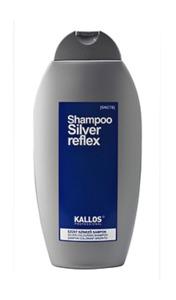 KALLOS Shampoo Silver Reflex, Srebrny szampon koloryzujący do włosów rozjaśnianych i siwych, 350 ml