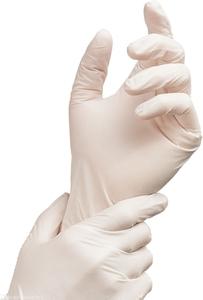 Rękawiczki ochronne lateksowe pudrowane, rozmiar M, 100 szt.