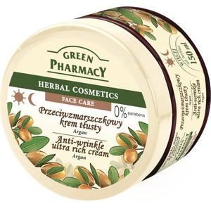 GREEN PHARMACY, Przeciwzmarszczkowy krem tłusty Argan, cera sucha, skłonna do zmarszczek i podrażnień, 150 ml