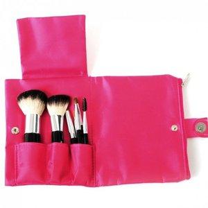 SYIS Make Up, Zestaw naturalnych pędzli do makijażu 7 sztuk w różowym etui, 1 kpl
