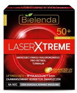 BIELENDA Laser Xtreme, Liftigująco - nawilżający krem na noc 50+ Zaawansowany Korektor Zmarszczek, 50 ml