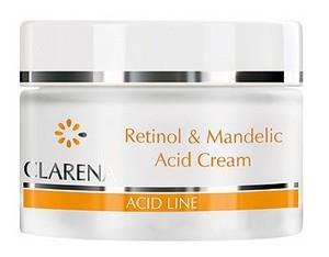 CLARENA Retinol & Mandelic Acid Cream, Krem przeciwzmarszczkowy z kwasem migdałowym i retinolem, 50 ml