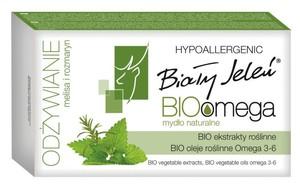 BIAŁY JELEŃ BioOmega, Naturalne mydło z melisą i romarynem, skóra sucha i wrażliwa, 85g