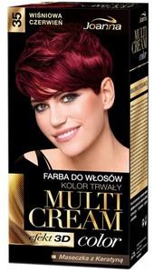JOANNA Multi Cream Color 3D, Farba do włosów kolor trwały, 35 Wiśniowa Czerwień, 1 op.