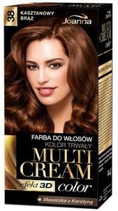JOANNA Multi Cream Color 3D, Farba do włosów kolor trwały, 38 Kasztanowy Brąz, 1 op.