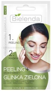 BIELENDA Professional Formula, Peeling gruboziarnisty + maska z glinką zieloną, cera mieszana i tłusta, 2x5g