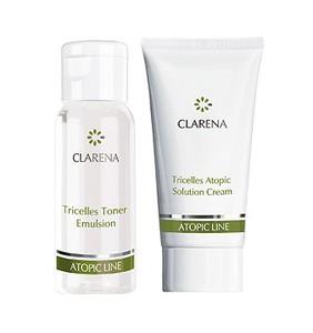 CLARENA Tricelles Atopic Mini Set, Mini zestaw kosmetyków do cery atopowej i alergicznej, 30 + 15 ml