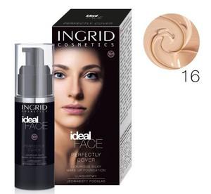 INGRID Ideal Face, Długotrwały podkład kryjący, 16 Brzoskwiniowy, 35 ml