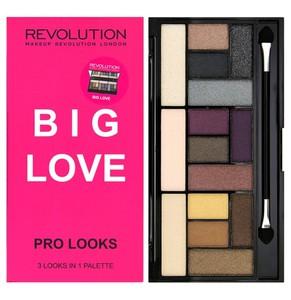 MAKEUP REVOLUTION Pro Looks Pallette, Zestaw cieni do powiek 15 kolorów, Big Love, 13g