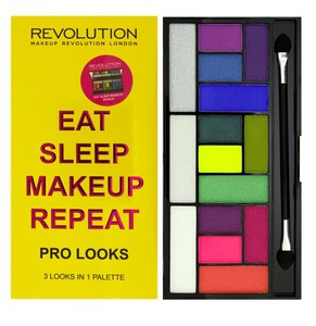 MAKEUP REVOLUTION Pro Looks Pallette, Zestaw cieni do powiek 15 kolorów, Eat Sleep Makeup Repeat, 13g