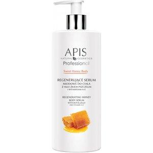 APIS Sweet Honey Body, Regenerujące serum miodowe do ciała z mleczkiem pszczelim i witaminami A+E, 500 ml