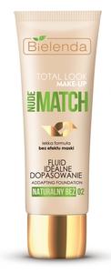 BIELENDA Total Look Make Up, Fluid idealne dopasowanie Nude Match, 02 naturalny beż, każda cera, 30g