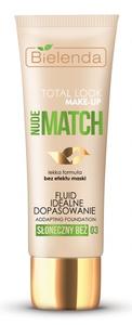 BIELENDA Total Look Make Up, Fluid idealne dopasowanie Nude Match, 03 słoneczny beż, każda cera, 30g