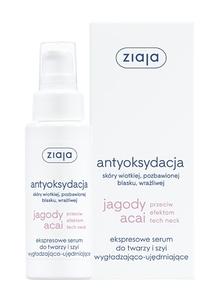 ZIAJA Jagody Acai, Ekspresowe serum do twarzy i szyi wygładzająco - ujędrniające, 50 ml
