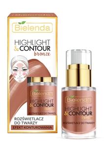 BIELENDA Highlight & Contour Bronze, Rozświetlacz do twarzy miedziany - efekt konturowania, 15 ml