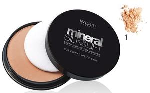 INGRID Mineral Silk&Lift Dream Matt de Lux, Mineralny puder matujący nr 001, 19g
