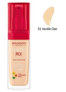 BOURJOIS Healthy Mix, Rozświetlający podkład do makijażu, 051 Light Vanilia, 30 ml