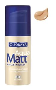 SORAYA Aqua Matt, Jedwabisty podkład matujący z SilkyBlur Complex, 101 jasny beż, 30 ml