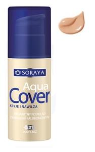 SORAYA Aqua Cover, Aksamitny podkład kryjący z kwasem hialuronowym, 203 ciepły beż, 30 ml