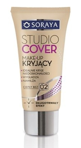 SORAYA Studio Cover, Make-up kryjący, 02 ciepły beż, cera sucha i normalna, 30 ml