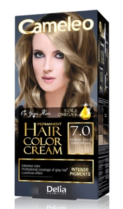 DELIA Cameleo Omega+, Farba do włosów permanentna, 7.0 medium blond, 1 op.