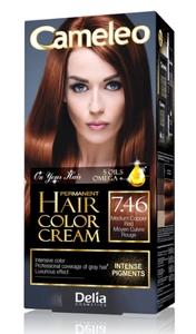 DELIA Cameleo Omega+, Farba do włosów permanentna, 7.46 medium copper red, 1 op.