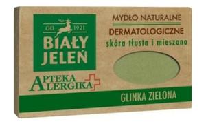 BIAŁY JELEŃ Apteka Alergika, Dermatologiczne mydło z glinką zieloną, cera tłusta i mieszana, 125g