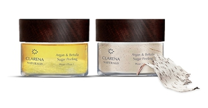 CLARENA Naturalis, Argan & Betula Sugar Peeling, 100% wegański, Naturalny peeling dwufazowy, 50 ml + 40g