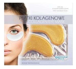 BEAUTY FACE, Przeciwzmarszczkowe szokowe kolagenowe płatki pod oczy ze złotem i kwasem hialuronowym, 1 op.