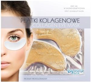 BEAUTY FACE, Odmładzające i ujędrniające kolagenowe płatki pod oczy z drobinkami złota, 1 op.